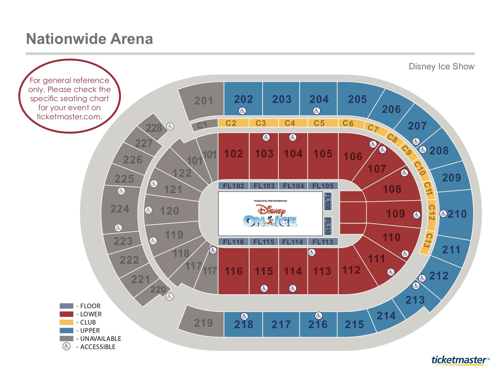Disney On Ice Seating Map -- for more info call us (614) 246-2000